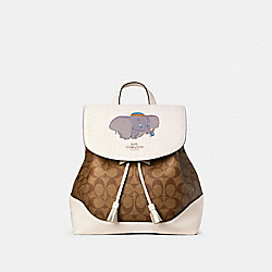 COACH 91121 - DISNEY X COACH ELLE BACKPACK IN SIGNATURE CANVAS WITH DUMBO SV/CHALK KHAKI MULTI