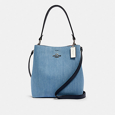 COACH 91136 TOWN BUCKET BAG SV/DENIM-BRIGHT-CORAL