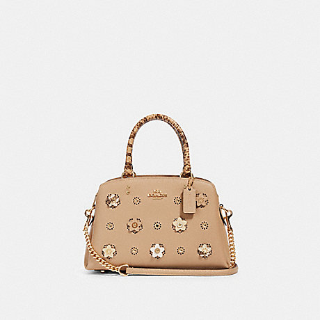 COACH 91142 MINI LILLIE CARRYALL WITH DAISY APPLIQUE IM/TAUPE-MULTI