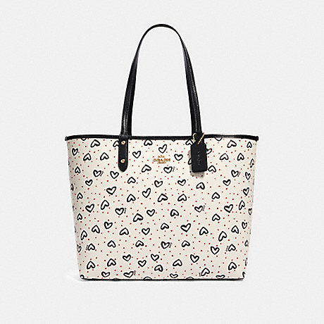 COACH 91151 REVERSIBLE CITY TOTE WITH CRAYON HEARTS PRINT IM/CHALK-PINK-MULTI/BLACK