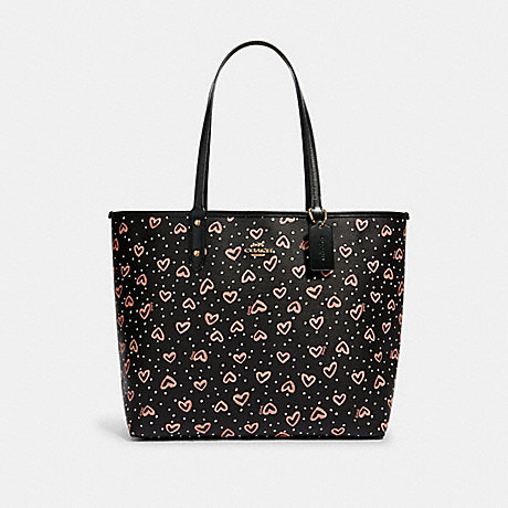 COACH 91151 REVERSIBLE CITY TOTE WITH CRAYON HEARTS PRINT SV/BLACK-PINK-MULTI/LIT-BLUSH