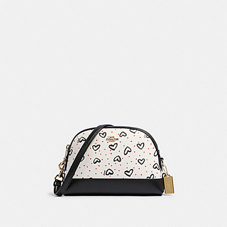 COACH 91152 DOME CROSSBODY WITH CRAYON HEARTS PRINT IM/CHALK-PINK-MUTLI