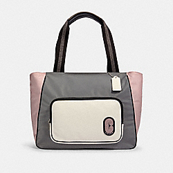 COACH 91157 - COURT TOTE IN COLORBLOCK SV/HEATHER GREY MULTI