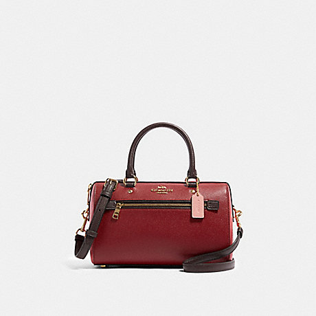 COACH 91161 ROWAN SATCHEL IN COLORBLOCK IM/DEEP-SCARLET-MULTI