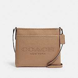 COACH 91167 File Bag With Coach Print IM/TAUPE