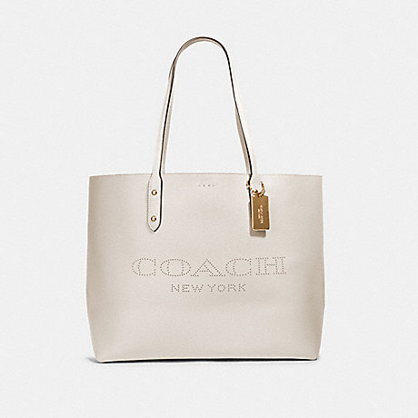 COACH 91168 TOWN TOTE WITH COACH PRINT IM/CHALK-LIGHT-SADDLE