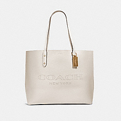 COACH 91168 - TOWN TOTE WITH COACH PRINT IM/CHALK LIGHT SADDLE