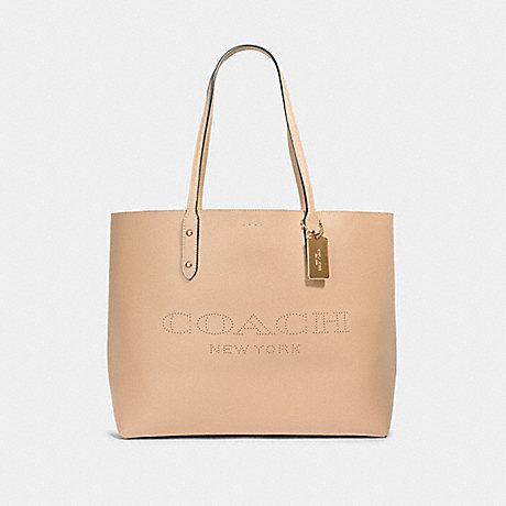 COACH 91168 TOWN TOTE WITH COACH PRINT IM/TAUPE-POPPY