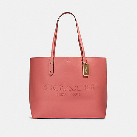 COACH 91168 TOWN TOTE WITH COACH PRINT IM/BRIGHT-CORAL-WINE