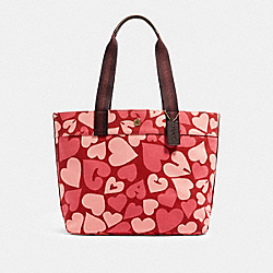 COACH 91169 Tote With Coach Heart Print IM/JASPER MULTI