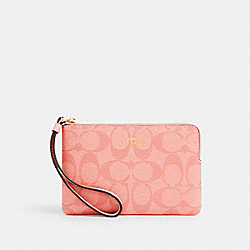 COACH 91178 Corner Zip Wristlet In Signature Canvas IM/CANDY PINK