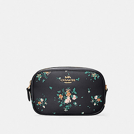 COACH 91179 CONVERTIBLE BELT BAG WITH ROSE BOUQUET PRINT SV/MIDNIGHT-MULTI