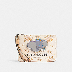 COACH 91185 Disney X Coach Gallery Pouch With Rose Bouquet Print And Dumbo SV/CHALK MULTI