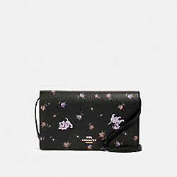 DISNEY X COACH HAYDEN FOLDOVER CROSSBODY CLUTCH WITH DALMATIAN FLORAL PRINT - 91187 - IM/BLACK MULTI