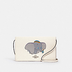 DISNEY X COACH HAYDEN FOLDOVER CROSSBODY CLUTCH WITH DUMBO - 91190 - SV/CHALK