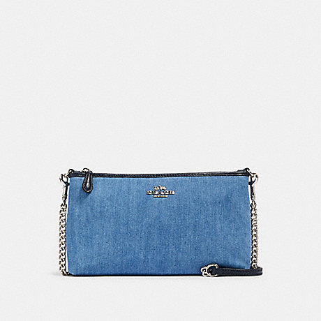COACH 91195 ZIP TOP CROSSBODY SV/DENIM MULTI