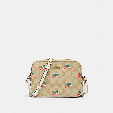 COACH 91203 MINI CAMERA BAG IN SIGNATURE CANVAS WITH STRAWBERRY PRINT IM/KHAKI-MULTI