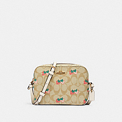 MINI CAMERA BAG IN SIGNATURE CANVAS WITH STRAWBERRY PRINT - 91203 - IM/KHAKI MULTI