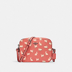COACH 91204 - MINI CAMERA BAG WITH BUNNY SCRIPT PRINT SV/BRIGHT CORAL
