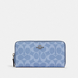 COACH 91205 Accordion Zip Wallet In Signature Canvas SV/LIGHT DENIM