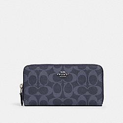 COACH 91205 Accordion Zip Wallet In Signature Canvas SV/DENIM MIDNIGHT