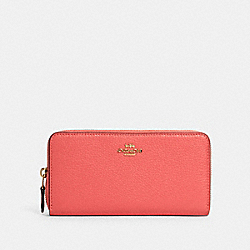 COACH 91207 Accordion Zip Wallet IM/BRIGHT CORAL WINE