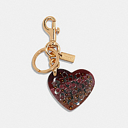 COACH 91208 Signature Heart Bag Charm IM/PINK MULTICOLOR