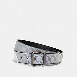 COACH 91223 Harness Buckle Cut-to-size Reversible Belt, 38mm QB/REFLECTIVE SILVER