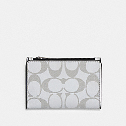 COACH 91225 Bifold Card Wallet In Reflective Signature Canvas QB/REFLECTIVE SILVER