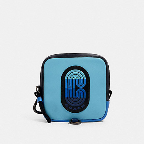 COACH 91230 SQUARE HYBRID POUCH IN COLORBLOCK WITH COACH PATCH QB/BLUE MULTI