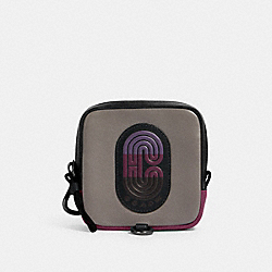 SQUARE HYBRID POUCH IN COLORBLOCK WITH COACH PATCH - 91230 - QB/GREY PURPLE MULTI