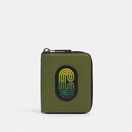 COACH 91231 MEDIUM ZIP AROUND WALLET IN COLORBLOCK WITH COACH PATCH QB/GREEN MULTI