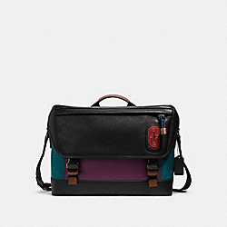 RANGER MESSENGER IN COLORBLOCK WITH COACH PATCH - 91240 - QB/DARK SEA GREEN PLUM MULTI