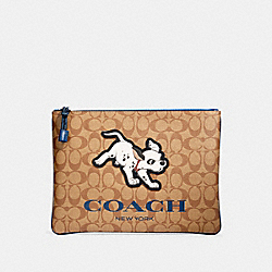 COACH 91247 - DISNEY X COACH LARGE POUCH IN SIGNATURE CANVAS WITH DALMATIAN QB/TAN ADMIRAL MULTI