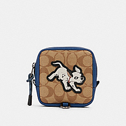 COACH 91248 - DISNEY X COACH SQUARE HYBRID POUCH IN SIGNATURE CANVAS WITH DALMATIAN QB/ADMIRAL