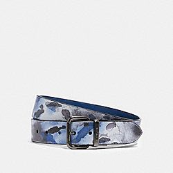 COACH 91254 - HARNESS BUCKLE CUT-TO-SIZE REVERSIBLE BELT WITH WATERCOLOR SCRIPT PRINT, 38MM QB/BLUE MULTI