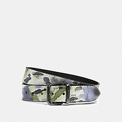 COACH 91254 - HARNESS BUCKLE CUT-TO-SIZE REVERSIBLE BELT WITH WATERCOLOR SCRIPT PRINT, 38MM QB/GREEN MULTI