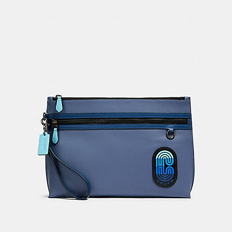 COACH CARRYALL POUCH IN COLORBLOCK WITH COACH PATCH - QB/BLUE MULTI - 91262