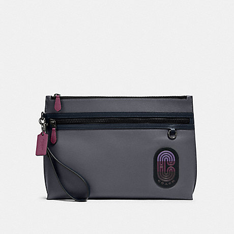 COACH 91262 CARRYALL POUCH IN COLORBLOCK WITH COACH PATCH QB/GREY PURPLE MULTI