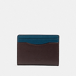 COACH 91265 Magnetic Card Case In Colorblock QB/OXBLOOD AEGEAN MULTI