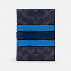 PASSPORT CASE IN SIGNATURE CANVAS WITH VARSITY STRIPE - 91274 - QB/DENIM MULTI
