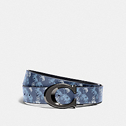 SIGNATURE BUCKLE CUT-TO-SIZE REVERSIBLE BELT WITH HORSE AND CARRIAGE PRINT, 38MM - 91276 - QB/INDIGO MULTI