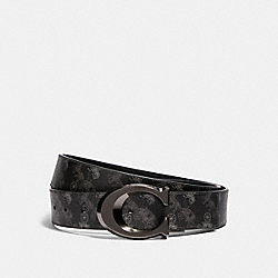 SIGNATURE BUCKLE CUT-TO-SIZE REVERSIBLE BELT WITH HORSE AND CARRIAGE PRINT, 38MM - 91276 - QB/BLACK MULTI