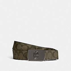 COACH 91280 Plaque Buckle Cut-to-size Reversible Belt, 38mm QB/OLIVE MULTI