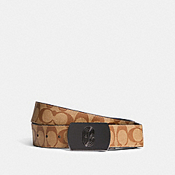 COACH 91280 - PLAQUE BUCKLE CUT-TO-SIZE REVERSIBLE BELT, 38MM QB/UTILITY TAN