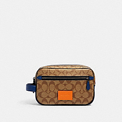 COACH 91281 Double Zip Overnight Kit In Colorblock Signature Canvas QB/TAN ADMIRAL MULTI