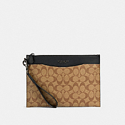 COACH 91285 Beckett Slim Pouch In Signature Canvas QB/TAN BLACK