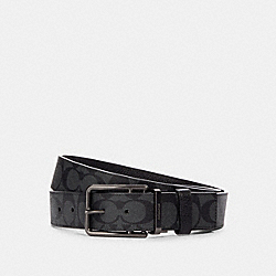 COACH 91288 - DOUBLE BAR BUCKLE CUT-TO-SIZE REVERSIBLE BELT, 38MM QB/CHARCOAL/BLACK