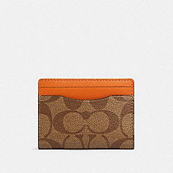 COACH 91294 Magnetic Card Case In Colorblock Signature Canvas QB/TAN ADMIRAL MULTI