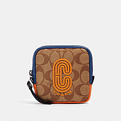 COACH 91297 Square Hybrid Pouch In Colorblock Signature Canvas With Coach Patch QB/TAN ADMIRAL MULTI